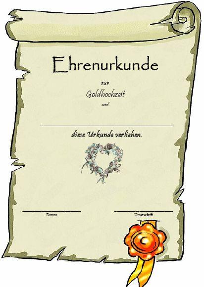 Ehrenurkunde Goldhochzeit | Urkunden Kostenlos.de urkundenvorlagen